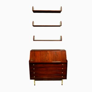 Rosewood Secretaire & Shelves, 1960s, Set of 2