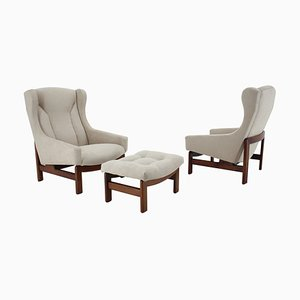 Armchairs and Stool from TON, Czechoslovakia, 1970s, Set of 3