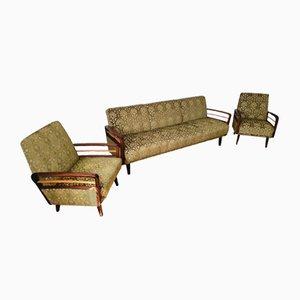 Set da salotto vintage verde, set di 3