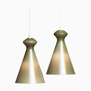 Glass Pendants in Olive Green by Maria Lindeman for Idman Oy, Finland, 1950s, Set of 2