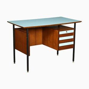 Desk in Mahogany Veneer, Formica and Enamelled Metal, Italy, 1960s