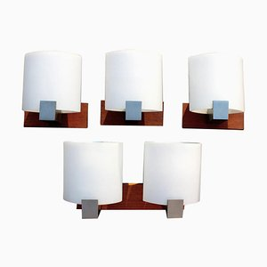 Labeled Sconces in Teak and Opal Glass from Kaiser, Germany, 1970s, Set of 4