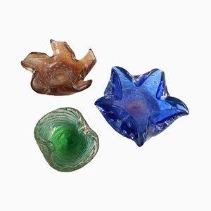 Cuencos vintage de cristal de Murano, años 60. Juego de 3