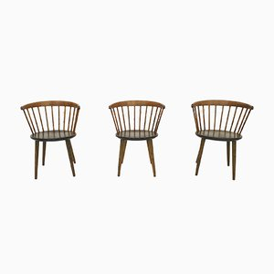 Spindle Back Chairs by Yngve Ekstrom for Nesto, Sweden, 1950s, Set of 3