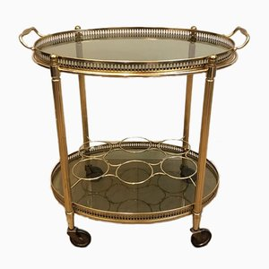 Gilt Metal Oval Drinks Trolley with Removable Tray and Bottle Holder, France, 1940s