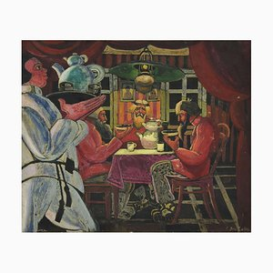 Interior of a Dacha, Tempera by L. & R. Brailowsky, Early 20th Century