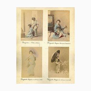 Imprimé Albumine Vintage, Geishas, Nagasaki, 1880s-1890s, Set de 5