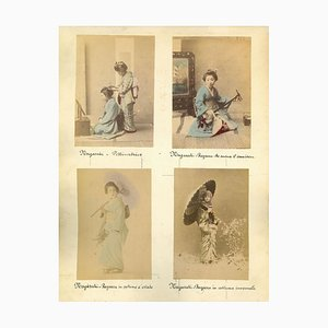 Unknown, Ancient Portrait of Geishas, Nagasaki, Vintage Albumen Print, 1880s-1890s, Set of 5