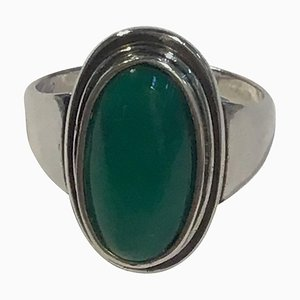 Sterling Silver No. 47 Ring with Green Agate from Georg Jensen