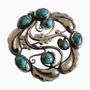 Spilla in argento sterling numero 159 ornata di turchese di Georg Jensen