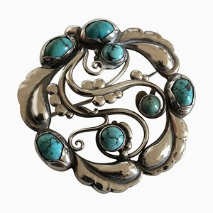 Sterling Silver Brooch No. 159 Ornamented with Turquoise from Georg Jensen