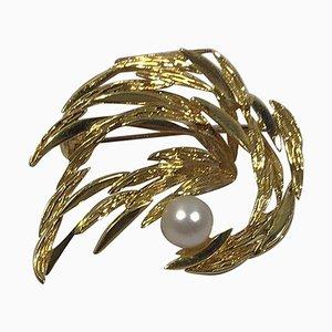 Spilla in oro 18 carati con perla di Georg Jensen & Wendel