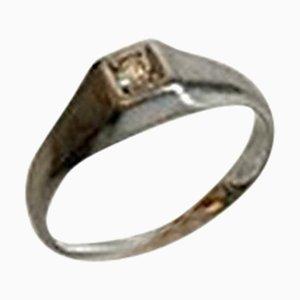 Ring aus 14 Karat Weißgold mit Brilliant