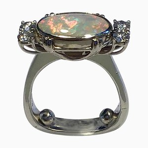 18 Carat Gold Ring Opal and Brilliant from Georg Jensen