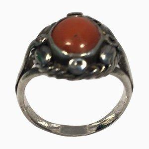 Ring aus Sterlingsilber mit Koralle von Georg Jensen