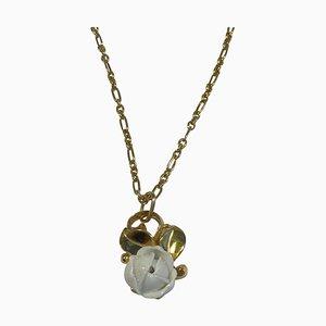 Sterling Silver Gilded & Porcelain Necklace Pendant No 239 by Georg Jensen for Royal Copenhagen