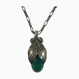 Sterling Silver 2008 Annual Pendant Green Agate with Necklace from Georg Jensen