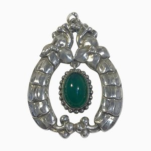 Early 826 Silver Necklace Pendant with Chrysoprase No 14 from Georg Jensen