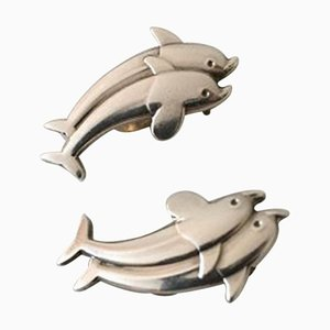 Sterling Silber Ohrclips mit Delfinen # 129 von Georg Jensen, 2er Set