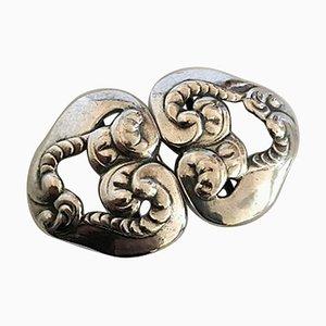 Danish Art Nouveau Silver #10 Belt Buckle from Georg Jensen