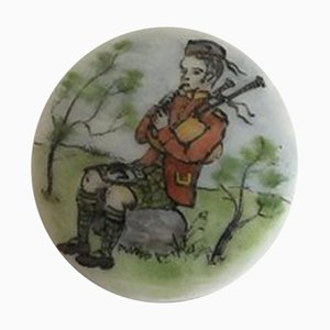 Porcelain Button with Hand-Painted Motif of Musician from Royal Copenhagen