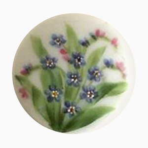 Porcelain Button with Hand-Painted Flower Motif from Royal Copenhagen