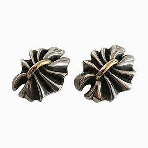Boucles d'Oreilles Lene Munthe # 400 en Argent Sterling et Or 18 Carats de Georg Jensen, Set de 2