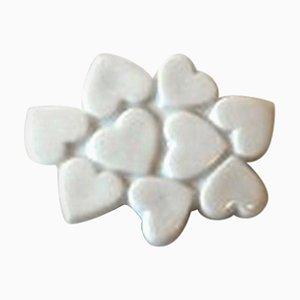 Broche en forma de corazón de plata esterlina y porcelana blanca de Anton Michelsen para Royal Copenhagen