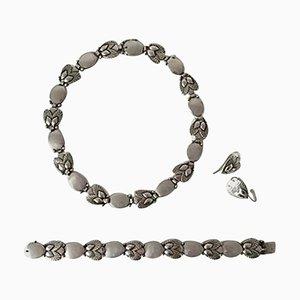 Sterling Silberkette, Bracelet & Earrings # 94B Set von Georg Jensen