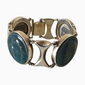 Sterling Silver and Porcelain Bracelet by Jais Nielsen for Royal Copenhagen