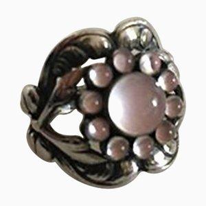 Rosenquarz Ring # 10 aus Sterlingsilber von Georg Jensen