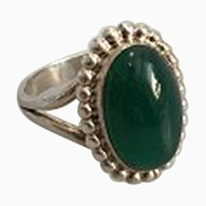 Green Agate & Sterling Silver #9 Ring from Georg Jensen