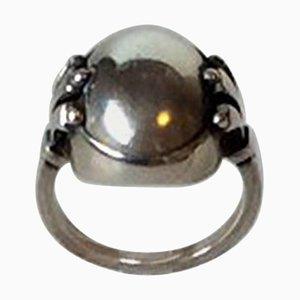 Sterling Silber Ring mit Silbernem Stein Nr. 51 von Georg Jensen