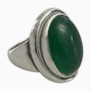 Green Agate & Sterling Silver #46a Ring from Georg Jensen