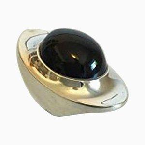 Black Stone & Sterling Silver #242 Ring by Henning Koppel for Georg Jensen