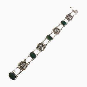 Green Agate & Silver #12 Bracelet from Georg Jensen