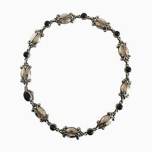 Halskette aus Sterlingsilber & schwarzem Onyx # 15 von Georg Jensen