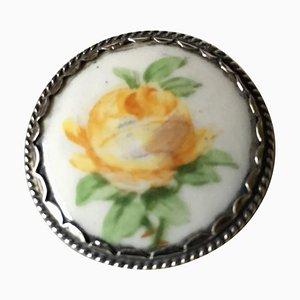 Yellow Rose, Silver & Porcelain Button from Royal Copenhagen