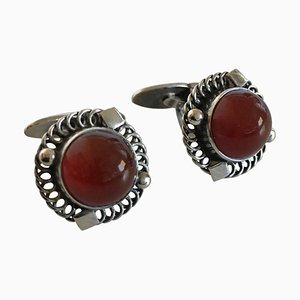 Sterling Silver Cufflinks No. 16 with Amber from Georg Jensen