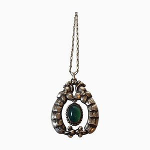 Green Stone & Silver #14 Pendant from Georg Jensen