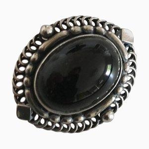 Spilla in argento sterling con pietra nera # 419 di Georg Jensen