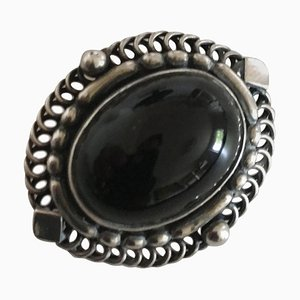 Sterling Silver Brooch with Black Jewelry Stone #419 from Georg Jensen