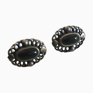 Black Onyx & Sterling Silver Annual Earrings from Georg Jensen, 2004
