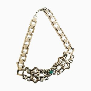Green Agate & Silver Choker / Necklace from Georg Jensen