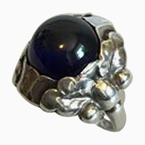 Sterling Silver Ring with Blue Stone No 11a from Georg Jensen