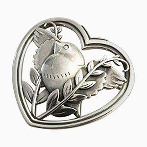 Spilla nr. 239 in argento sterling a forma di cuore con colomba di Georg Jensen