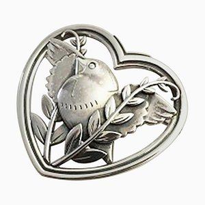 Sterling Silver Heart-Shaped #239 Brooch with Dove from Georg Jensen