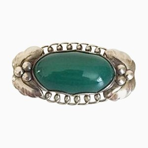 Sterling Silver #223 Brooch with Green Agate from Georg Jensen