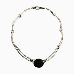 Sterling Silver Necklace with Black Onyx Pendant Piece from N.E. From