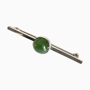 Brosche aus Sterlingsilber mit grünem Stein von Georg Jensen